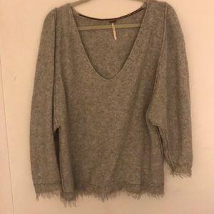 Free people wool/linen blend deep V sweater